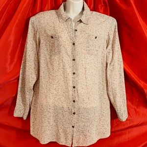 RUFF HEWN  Beige Cotton Button Blouse Top  2X